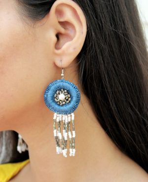 Hand Embroidered Dangle Earrings