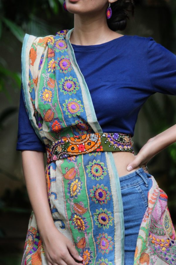Hand Embroidered Fabric Belt By Qurcha