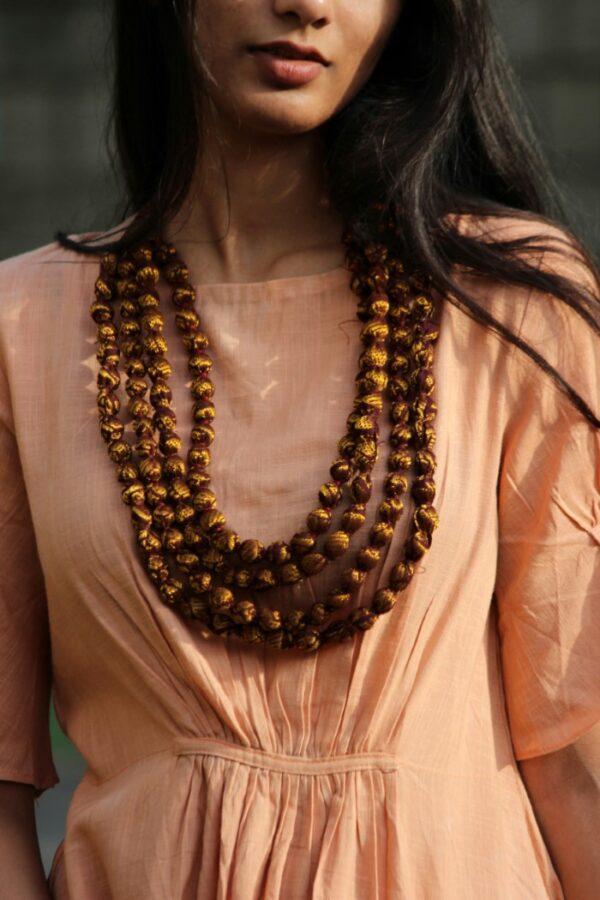 Gold Brown Sari Bead Necklace