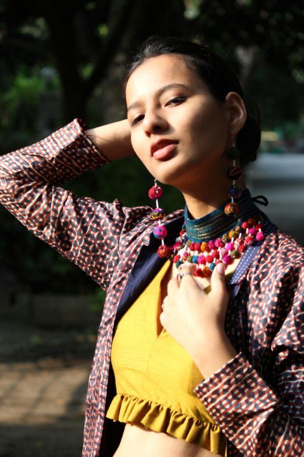 Firozi Bohemian Fabric Choker By Qurcha