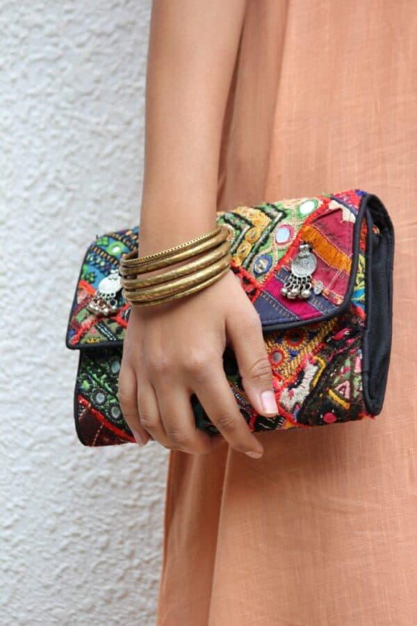 Colorful vintage embroidered boho bag