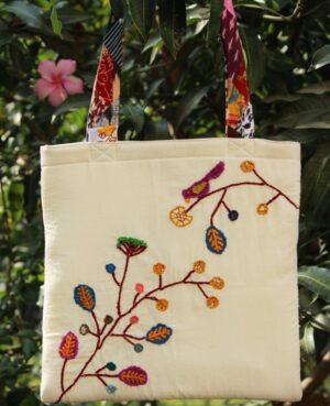 Handmade Applique Cotton Tote Bag By Qurcha
