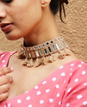 Kutchi Mirror Work Choker Necklace By Qurcha
