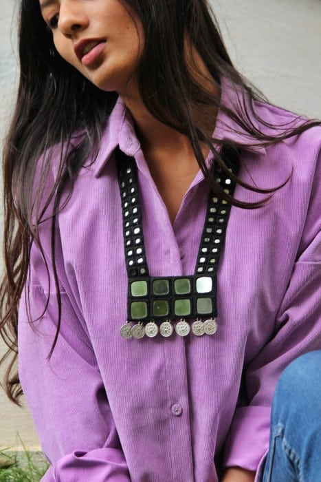 Black Hand Embroidered Mirror Work Kutchi Necklace By Qurcha