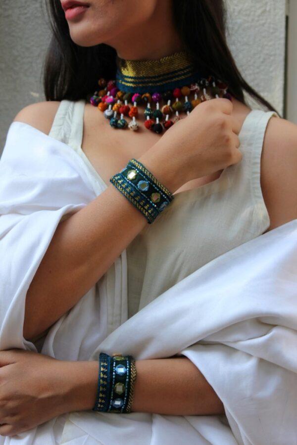 Firozi Bracelet Embellished Work By Qurcha