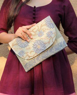 Grey Saree Envelope Clutch By Qurcha